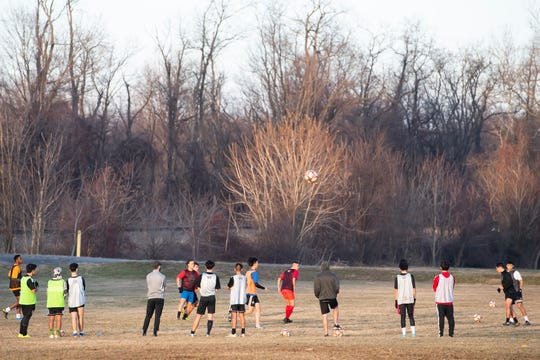 Students participate in a soccer practice at Scotland Campus on Wednesday, Jan. 15, 2020. The school currently offers boys' athletic programs for baseball, golf, basketball and soccer.