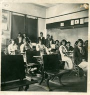 The first classroom is pictured at Stewart Indian School in this undated photo.