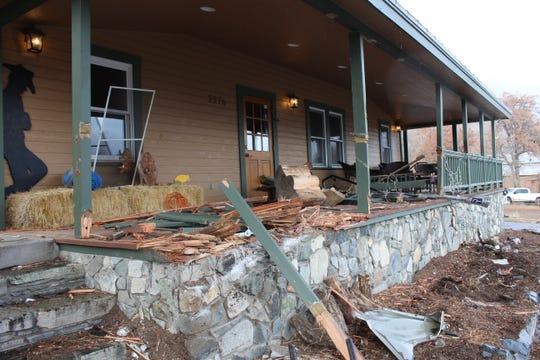 A photo showing the damage caused by a car that crashed into Trimmer Outpost in Genoa on Dec. 31, 2019.