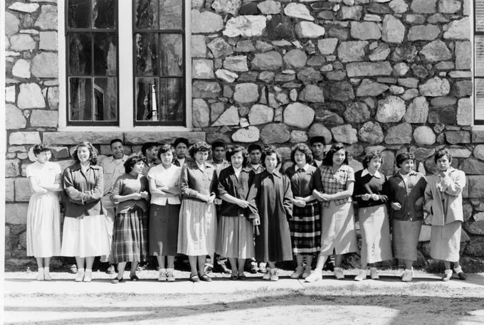 Students in the 1950s are pictured at Stewart Indian School in Carson City.