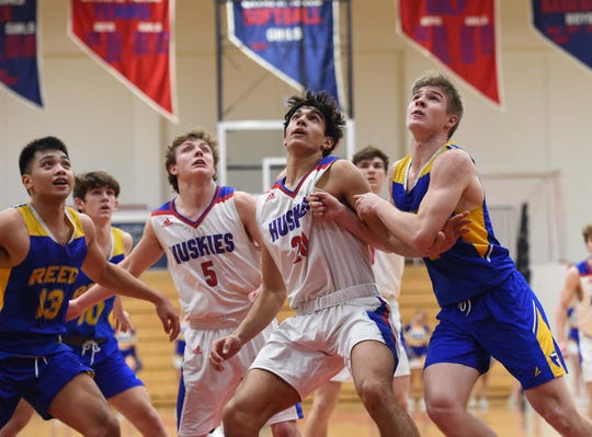 Action photos from the Reed at Reno boys basketball game on Jan. 21, 2019. Reno beat Reed 49-32.