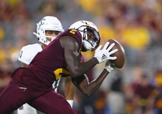 Arizona State Sun Devils wide receiver Brandon Aiyuk (2) catches a pass in the fourth quarter against the Sacramento State Hornets.