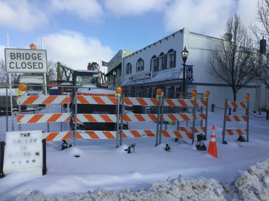 The street in front of The Galley Restaurant is the staging area for construction on the bridge in Spencerport.