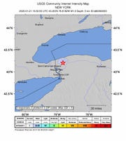 The USGS-provided map shows the location and strength of Wednesday's earthquake in Niagara County.