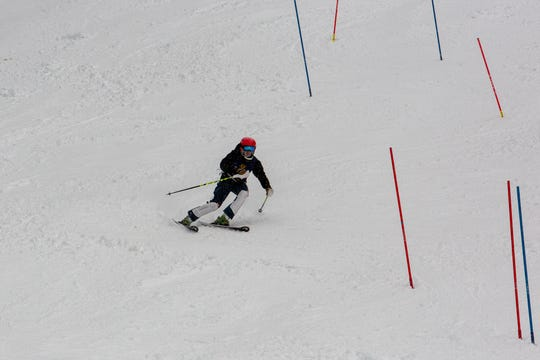Mount Shasta sophomore skier Bryce Harkness accelerates downwards at the Alpine Race #2 on Jan. 20.