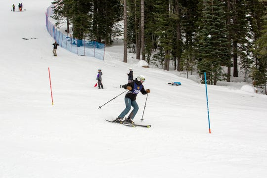 Mount Shasta senior Tate Harkness barrels down the slopes Mt. Shasta at the Alpine Race #2 on Jan. 20.