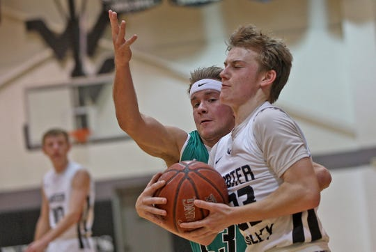 Nathan Treadaway, right, drives to the basket for Water Valley during a game against Blackwell on Tuesday, Jan. 21, 2020.