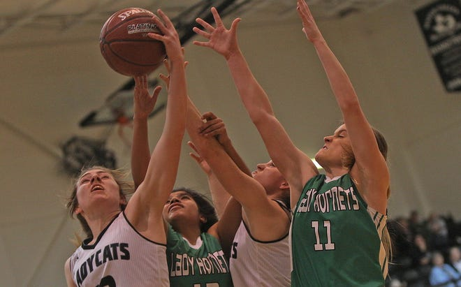 Kalysta Minton-Holland, far left, comes down with a rebound for Water Valley during a game against Blackwell on Tuesday, Jan. 21, 2020.