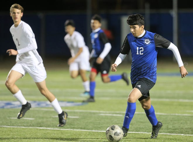 San Angelo Lake View's Luis Negrete controls the ball during a match against Brownwood at the San Angelo Sports Complex on Tuesday, Jan. 21, 2020.