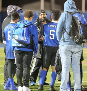 San Angelo Lake View High School head boys soccer coach Kyle Jones talks to the Chiefs after a win against Brownwood at the San Angelo Sports Complex on Tuesday, Jan. 21, 2020.