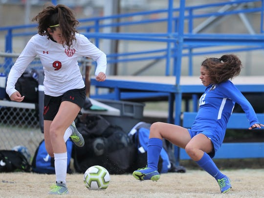 San Angelo Lake View's Pifi Juarez, right, tries to control the ball against a Lubbock-Cooper player during a match at Lake View Stadium on Tuesday, Jan. 21, 2020.