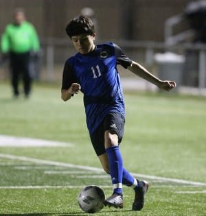 San Angelo Lake View's Jose Reyes controls the ball during a match against Brownwood at the San Angelo Sports Complex on Tuesday, Jan. 21, 2020.