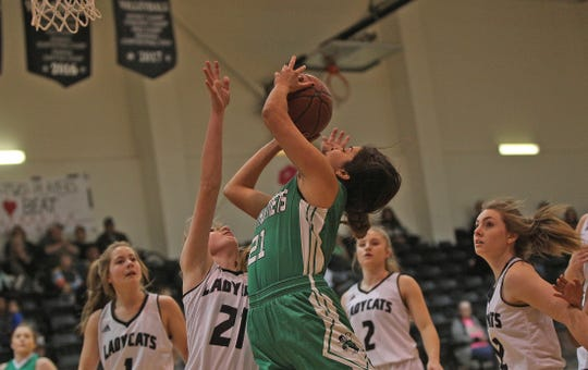 Madison Solis, center, drives to the basket for Blackwell during a game against Water Valley on Tuesday, Jan. 21, 2020.
