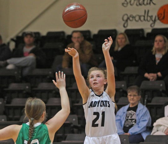 Emery Sears, center, launches a shot for Water Valley during a game against Blackwell on Tuesday, Jan. 21, 2020.