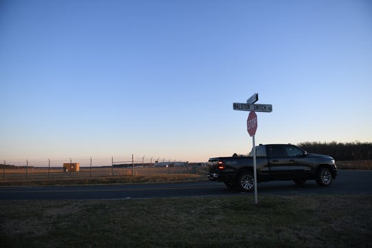 The intersection of Walston Switch and Airport Road sits untouched as Wicomico County, Maryland, considers permanently closing a portion of Walston Switch to accommodate airport expansions, on Jan. 22, 2020.