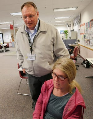 Census Field Supervisor Joseph Drees, left, guides census applicant Reyne Kastelic of Plymouth, Wis., with starting her application, Wednesday, January 22, 2020, in Sheboygan, Wis. Drees said that it is vitally important to make sure everyone is counted as it determines the level of governmental service, votes and representation at the national level.  Kastelic is a first time applicant for the census.