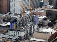 FILE - This Oct. 12, 2019, file photo shows damage of a partial collapse at the Hard Rock Hotel under construction in New Orleans. A tarp has fallen from the collapse site of an unfinished New Orleans hotel, partially exposing the remains of one of the workers killed in the October accident. Photos of the remains sticking out from the Hard Rock Hotel rubble near the city's historic French Quarter started to circulate on social media Tuesday afternoon, Jan. 21, 2020. (AP Photo/Gerald Herbert, File)