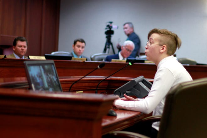 Quinncy Parke, 17, testifies to the South Dakota House State Affairs committee against a bill that would make it illegal for doctors to give gender-change treatment to children under 16, during a hearing Wednesday, Jan. 22, 2020 in Pierre, S.D.