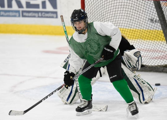 Sartell/Sauk Rapids senior forward Anna Orth waits for the puck at practice Wednesday, Jan. 22, 2020, at Bernick's Arena.
