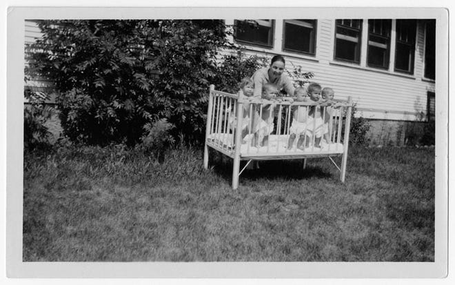 A 1929 photo of babies in a crib at the Sauk Centre Home School for Girls.