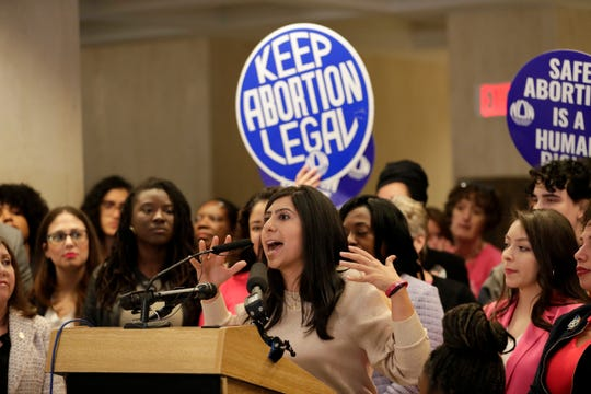 Rep. Anna Eskamani, D-Orlando, speaks during a press conference marking the 47th anniversary of the Roe v. Wade decision by the Supreme Court, legalizing access to abortion that drew over 100 to the fourth-floor Capitol rotunda Wednesday, Jan. 22, 2020.