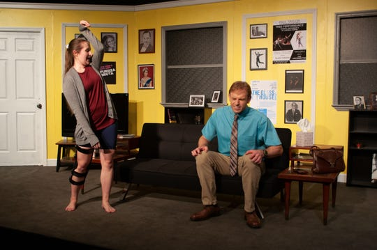 """Ever Montgomery (Jeff Hoh), a man with Asperger's who needs to learn to dance for a social event meets, Senga Quinn (Rachel S. Hunter), an injured Broadway dancer who lives in his building in Theatre Tallahassee's production of """"Dancing Lessons."""""""