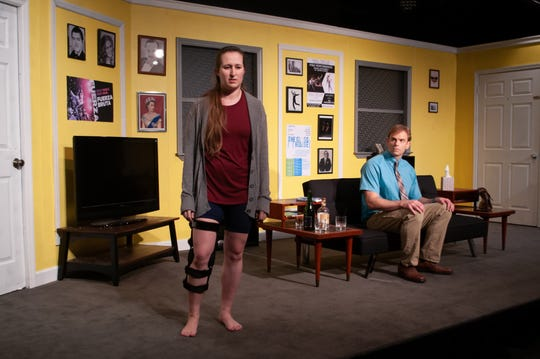 """Ever Montgomery (Jeff Hoh), a man with Asperger's who needs to learn to dance for a social event, meets Senga Quinn (Rachel S. Hunter), an injured Broadway dancer who lives in his building in Theatre Tallahassee's production of """"Dancing Lessons."""""""