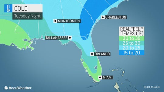 Blast of cold air arrives in Florida Jan. 21-22, 2020.