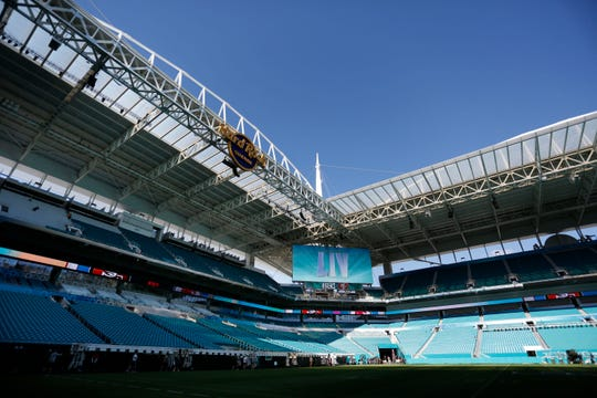Preparations are underway during a tour of the Hard Rock Stadium on Tuesday, Jan. 21, 2020, ahead of Super Bowl LIV in Miami Gardens, Fla.