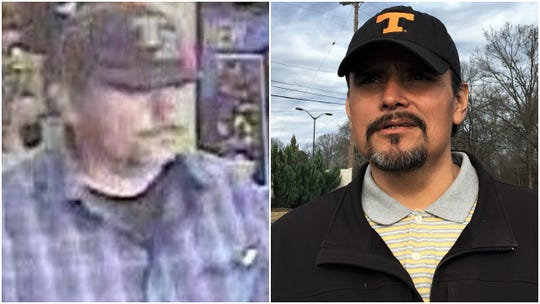 A security camera still image of a man sought by El Paso police for heroic actions in the Aug. 3 Walmart shooting is shown at left; Lazaro Ponce, right, says he is that man.