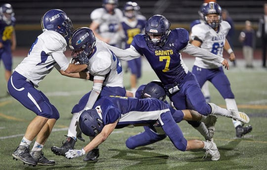 Jake Trachsel (7), who averaged 13.2 tackles per game in his senior season at Hillcrest Christian, will play for the East team in the Ventura County All-Star Football Game on Saturday at 1 p.m. at Ventura College. Trachsel and teammate Will Little will be the first 8-man players to participate in the long history of the all-star game.