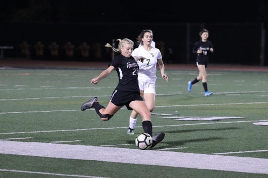 Foothlll Tech sophomore Riley Schneider sends the ball upfield In the Dragons' 1-0 win over visiting St. Bonaventure on Jan. 7 at Ventura College. Foothill Tech remains the only unbeaten team in Tri-Valley League play.