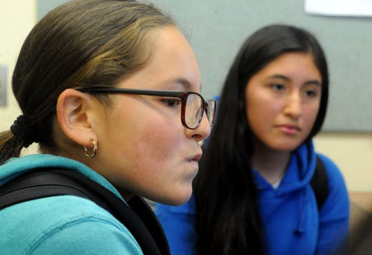 Kimberli Oregel, 12, left, and Desiree Luis, 12, seventh-graders at Oxnard's Haydock Academy of Arts and Sciences, talk about their discovery of racist statements by the school's namesake Richard Haydock. Their efforts  prompted the Oxnard School District to change the school's name.