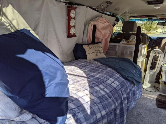 According to homeless advocate Jim Martin, there are many homeless car-dwellers in Sussex County. One woman allowed him to take this photo of her van.