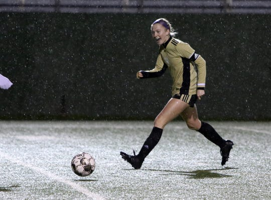 Rider's Mindy Shoffit dribbles in the match against Denton Braswell Tuesday, Jan. 21, 2020, at Memorial Stadium.