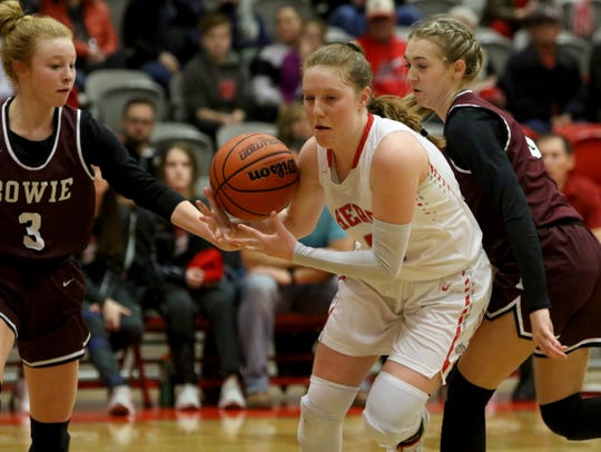 Holliday's Sarah Cowan gets the pass by Bowie's Landra Parr Tuesday, Jan. 21, 2020, in Holliday.