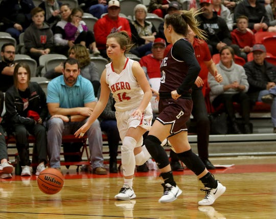 Holliday's Scotta Anderson dribbles in the game against Bowie Tuesday, Jan. 21, 2020, in Holliday.