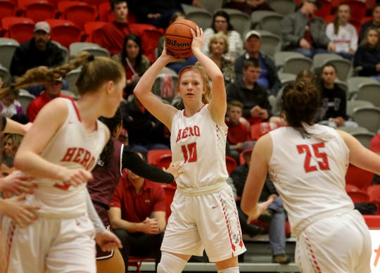 Holliday's Campbell Jurecek looks to pass in the game against Bowie Tuesday, Jan. 21, 2020, in Holliday.