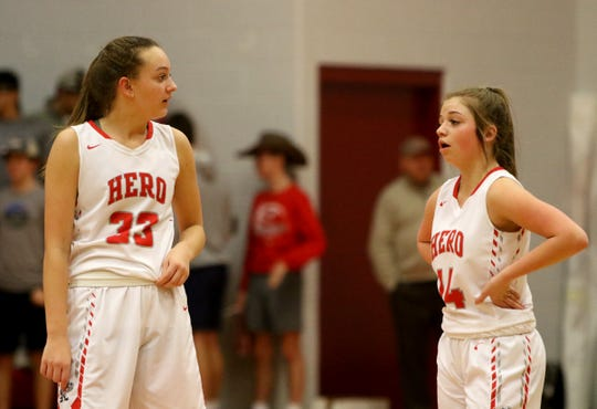 Holliday's Katy Piper (33) talks with Scotta Anderson (14) in the game against Bowie Tuesday, Jan. 21, 2020, in Holliday.