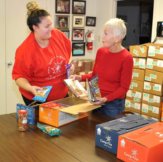 Camp Fire of North Texas Avianna Sosa, left, and Bettye Ricks sort candy to be sold during their annual Camp Fire USA candy sale.