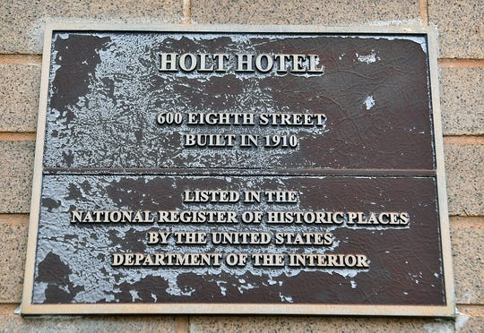 Plaques on the Holt Hotel declare its standing as a local and national historic place. The building was constructed in 1910, eventually closed for many years and in the early 2000s was completely renovated into The Holt apartments.