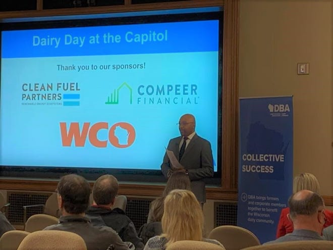 DNR Secretary Preston Cole speaks to a group about his agency's goals during Dairy Business Association's Dairy Day at the Capitol 2020 on Jan. 21.