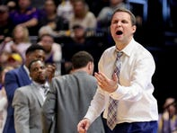 Jan 21, 2020; Baton Rouge, Louisiana, USA;  LSU Tigers head coach Will Wade reacts to a play against the Florida Gators during the second half at Maravich Assembly Center. Mandatory Credit: Stephen Lew-USA TODAY Sports