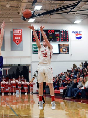 Landen Russell buries a third-quarter 3-pointer during Sheridan's 57-32 win against visiting Logan on Tuesday night at Glen Hursey Gymnasium. Sheridan improved to 13-2 overall.