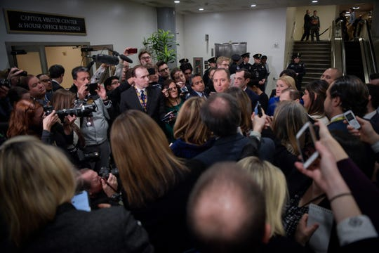 House Intelligence Committee chairman Adam Schiff (D-CA) is surrounded by members of the media prior to the start of the Senate impeachment trial of President Donald Trump.