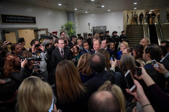 House Intelligence Committee Chairman Adam Schiff speaks to a large crowd of media at the Senate impeachment trial of President Donald J. Trump on Jan. 22, 2020.