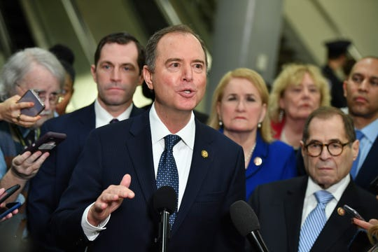 Lead House Manager Adam Schiff speaks to the press at the U.S. Capitol in Washington, D.C., on Wednesday.