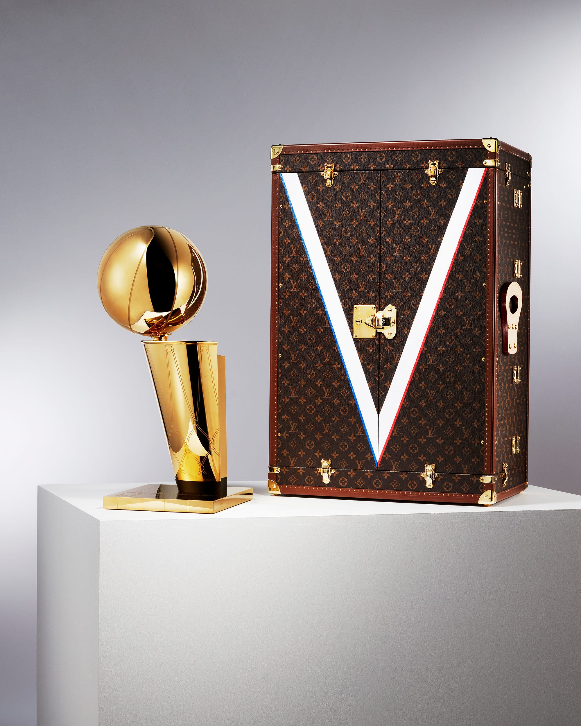 High fashion and NBA join forces for Louis Vuitton championship trophy case