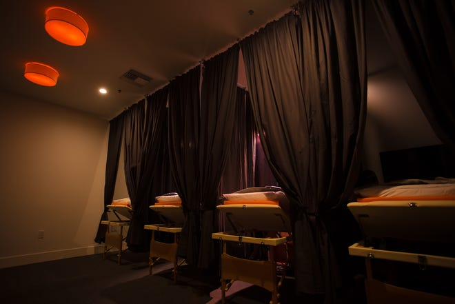 Here's a view of the interior of Shape House, a wellness boutique that offers lymphatic drainage massages.