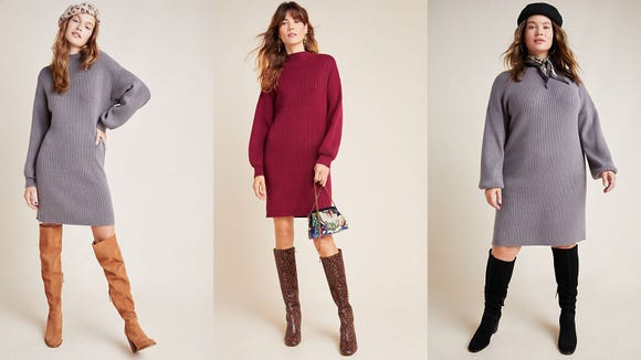 A simple mock neck sweater dress is always in style.